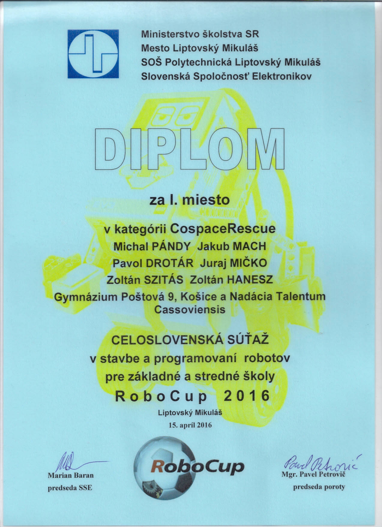 RoboCup Junior Slovakia Diplom